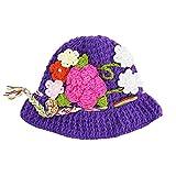 Little Girls Purple Flowers Precious Crochet Hat 2-4 Years
