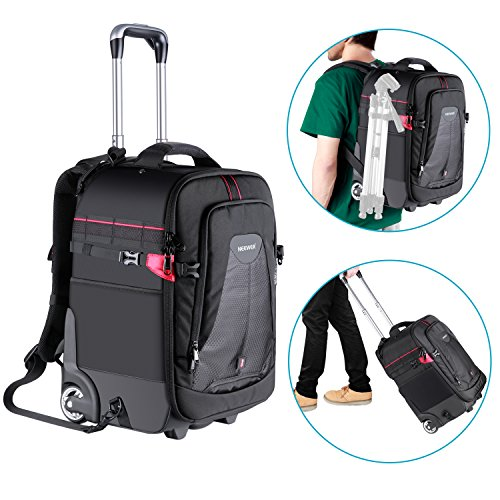 Neewer 2-in-1 Rolling Camera Backpack Trolley Case - Anti-shock Detachable Padded Compartment, Hidden Pull Bar, Durable, Waterproof for Camera,Tripod,Flash Light,Lens,Laptop for Air Travelling(Black) by Neewer