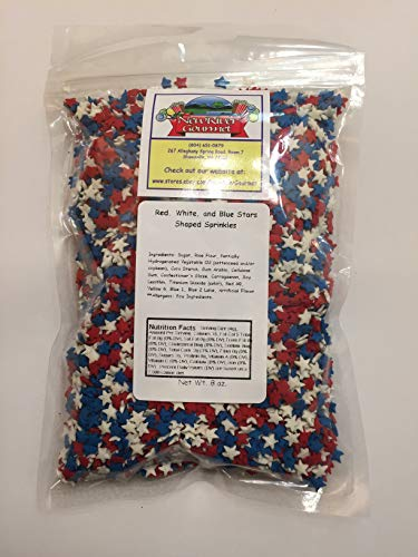 Red, White, and Blue Stars Decorating Edible Cake and Cookie Confetti Sprinkles Patriotic July 4th (8 ounces)
