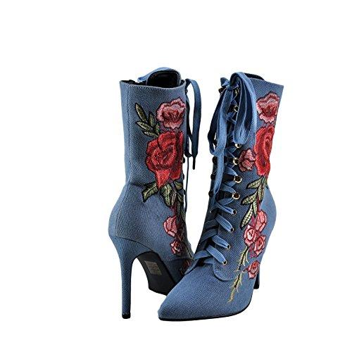 Cape Robbin Mini 108 Femmes Brodé Lace Up Boot Denim