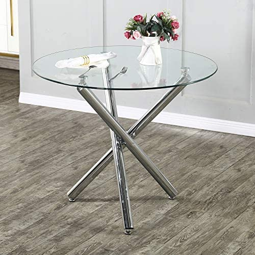 STYLIFING Modern Round Dining Table Baton Kitchen Round Glass Top and Stainless Steel Base Dining Table