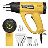 Powerextra 1800W Heat Gun Kits Variable Temperature 122℉-1022℉(50℃- 550℃) High Power Hot Air Gun, 2 Speed-Setting, 4 Nozzle Attachments for Crafts, Stripping Paint, Shrinking PVC