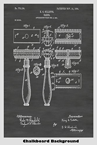 King Gillette Safety Razor Patent Print Art Poster: Choose From Multiple Size and Background Color Options