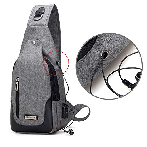 Charging For With Chest Bag Blue Usb Women shoulder Wind Men Bags crossbody Goal Sling Port Daypack Backpack amp; PCWqfE