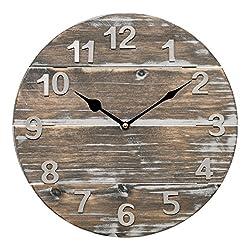 Lacrosse 404-3430W 12 Quartz Wood Panel Wall Clock, Brown
