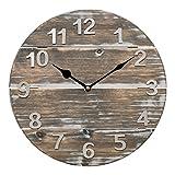 Lacrosse 404-3430W 12'' Quartz Wood Panel Wall Clock, Brown