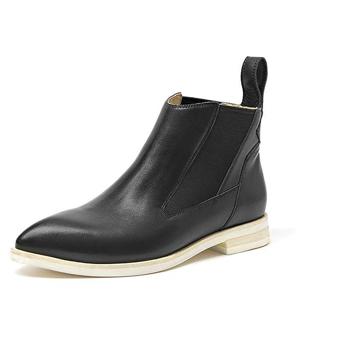 Botines Mujer Botines Chelsea Planos Tacon Ancho Piel Botas Botita Moda 2.5Cm Casual Planas Zapatos Negro (35-40),Black,35: Amazon.es: Ropa y accesorios