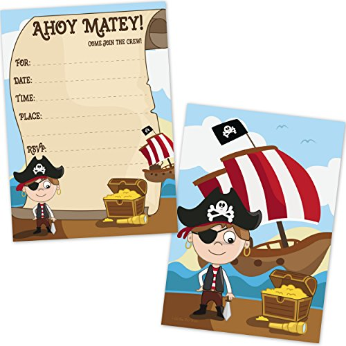 Kids Pirate Birthday Party Invitations for Boys (20 Count with Envelopes) - Pirate Party Supplies by Old Blue Door Invites