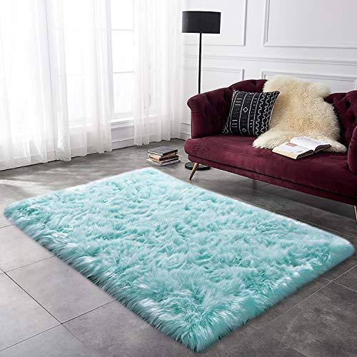 (YOH Soft Faux Sheepskin Area Rug Fluffy Shag Rug for a Kid's Room, Bedroom, Nursery, Living Room, High Pile Faux Fur Area Rug Nursery Room Decor (3 x 5 Feet, Light Blue))