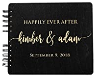 Wooden Wedding Guest Book Personalized Wood Rustic Charm Engraved for Bride and Groom Vintage Monogrammed Unique Anniversary Brida Guest Registry Guestbook Made in USA