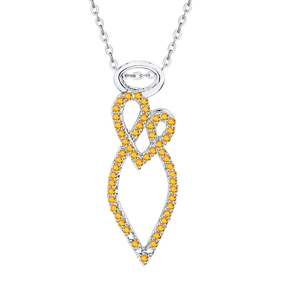 KATARINA Gemstone Twisted Heart Maternal Love Angel Pendant Necklace in 10K Gold 1//5 cttw