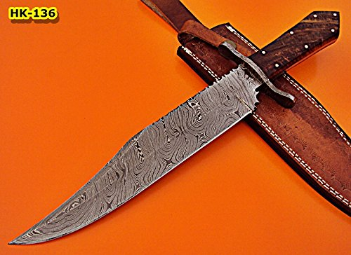REG-HK-136, Custom Handmade 15.00 Inches Damascus Steel Bowie Knife Exotic Rose Wood Handle with Demascus Steel Guard