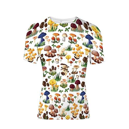 T-Shirt Short Sleeves,Mushrooms Wild Species Organic Natural,Mens Cool 3D Print