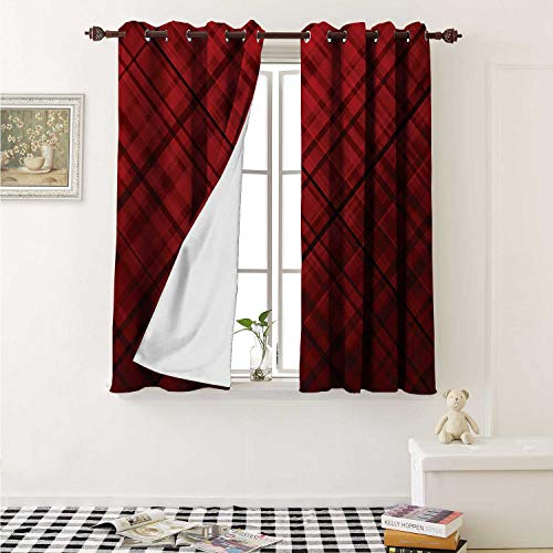 (Red and Black Blackout Draperies for Bedroom Scottish Kilt Design Pattern with Stripes Lines Squares Ombre Image Curtains Kitchen Valance W72 x L63 Inch Burgundy and Scarlet)