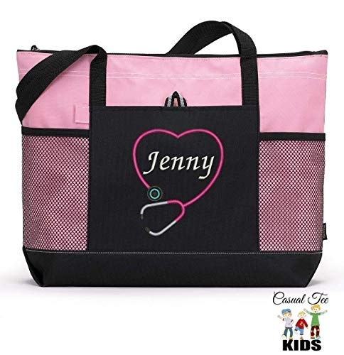 Personalized Nurse, CNA, RN, LPN Embroidered Tote Bag with Mesh Pockets ()