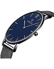 WISHDOIT Herren Uhr Edelstahl Automatik Einfache Schwarze Uhr Bauhaus-Stil Mode Minimalistische Armbanduhr Mechanisch für Männer mit Milanaise-Armband
