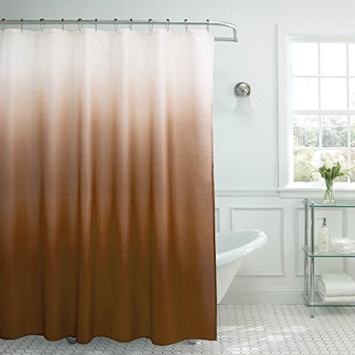 Creative Home Ideas Ombre Textured Shower Curtain with Beaded Rings, - Sterling Shower Curtain