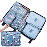 8 Pieces Travel Packing Cubes Luggage Organizers Storage Hanging Toiletry Bag Mesh Bags Laundry Pouches Shoes Bag (Blue Flower)