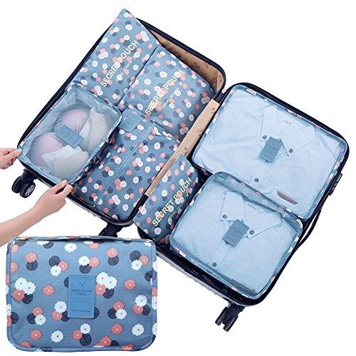 8 Piezas Cubos de embalaje de viaje Organizadores de equipaje Almacenamiento- Bolsa de tocador colgante + Bolsas de malla +...