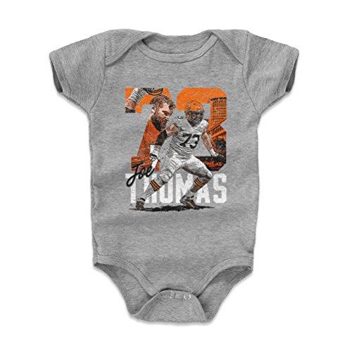 500 LEVEL Cleveland Football Baby Clothes, Onesie, Creeper, Bodysuit - 6-12 Months Heather Gray - Joe Thomas Tribute O WHT - Newborn Cleveland Browns Bib