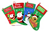 Set of 4 Comfy Felt Christmas Colorful Stockings Gift and Treat Bag Party Decoration Fireplace Decor, Reindeer Snowman Green Santa and Red Santa (Some Small Details May Vary)