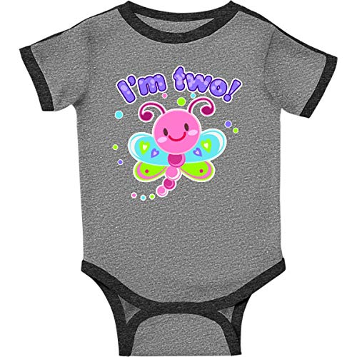 (inktastic I'm Two- Dragonfly Infant Creeper 6 Months Ringer Heather and Smoke)