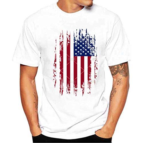 Sleeve V-neck Hardware - Men T Shirt, OOEOO Boy Plus Size American Flag Print Tees Short Sleeve Cotton Blouse Tops (White, M)