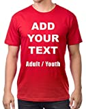 Custom T Shirts Ultra Soft Add Your Own Text Message Unisex Cotton T Shirt [Adult/Red / L]