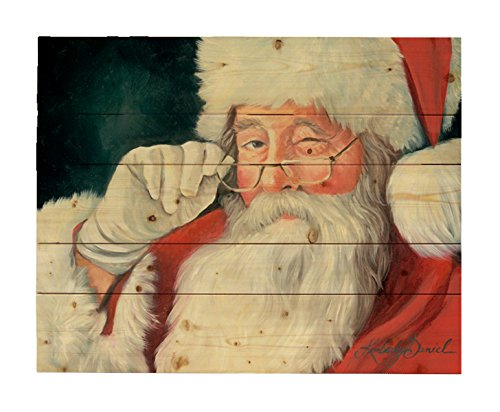 Wall Santa Claus (HADLEY HOUSE with a Wink Santa Claus by Kimberly Daniels. Wood Wall Decor Art Print, 16x20)