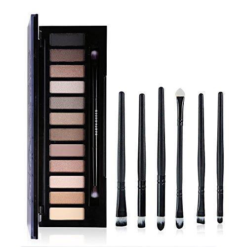 Ucanbe Naked Neutral Glitter Eye Shadow Palette with Professional Eyeshadow Applicator 6pcs Eye Makeup Brushes Set