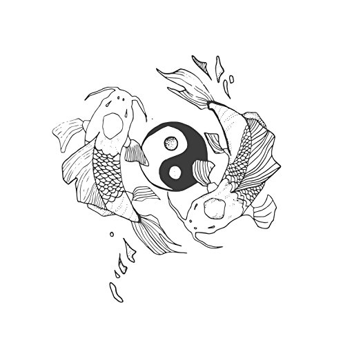 Tattoo Moments Animal Temporary Tattoos - Hand-Drawn Yin Yang Koi Fish (Set of 3 Tattoos) - Fashionable, Unique, Skin Safe and Waterproof