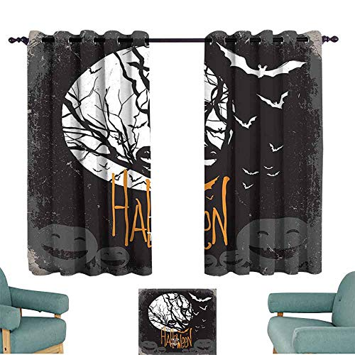 HCCJLCKS Light Luxury high-end Curtains Vintage Halloween Halloween Themed Image with Full Moon and Jack o Lanterns on a Tree Durable W63 xL63 Black White