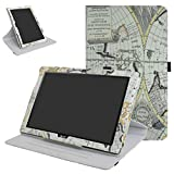 """Acer Iconia One 10 B3-A40 Rotating Case,Mama Mouth 360 Degree Rotary Stand With Cute Pattern Cover For 10.1"""" Acer Iconia One 10 B3-A40 Android Tablet,Map White"""