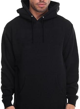 CaliDesign Men's Plain Black Hoodie Pullover Sweatshirt Hooded ...