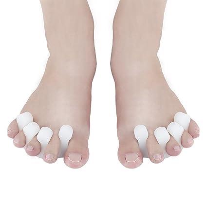 Separador de dedos y esparcidor, 5 dedos de los pies Corrector de juanetes protectores para