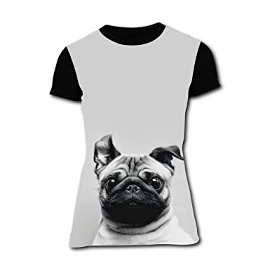0cd922be Amazon.com: Richelle shop Pug T-Shirts 3D Printed Funny Short Sleeve For  Women: Clothing