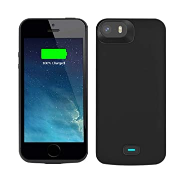 new concept 387e2 73847 Bahonda Battery Case Compatible with iPhone 5 / 5S / SE / SE2, 4000mAh  Rechargeable Extended Battery Charging Case, External Battery Charger Case,  ...