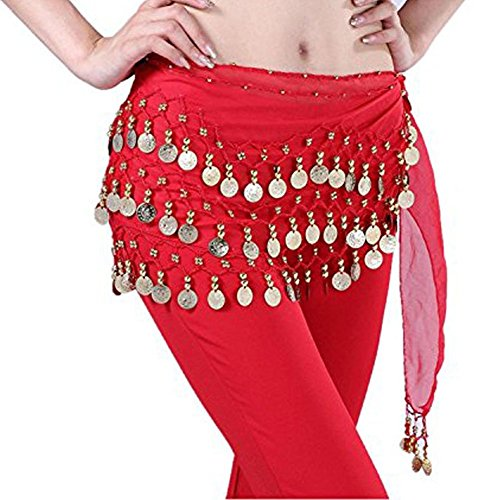 Buy Home Chiffon Dangling Gold Coins Belly Dance Hip Skirt Scarf Wrap Belt (Red) (Scarf Coin Belt Belly Dance)