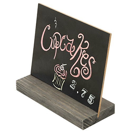 MyGift 5 X 6-Inch Mini Tabletop Chalkboard Signs with Vintage Style Wood Base Stands, Set of 4