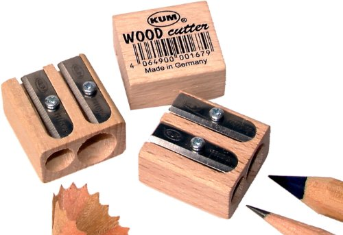 Kum 107.02.01 Wood 2-Hole Steel Blade Pencil Sharpener, Colors Vary