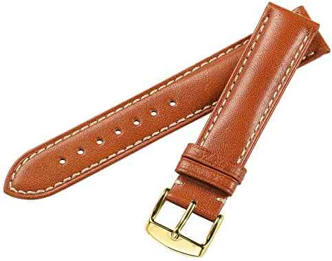 iStrap 21mm Watch Strap Genuine Calfskin Leather Soft Watch Band Padded Replacement Steel Spring Bar Buckle