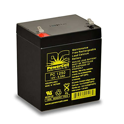Rechargeable Powercells (PowerCell Energy Products PC1250, Maintenance Free, Rechargeable, Sealed Lead, Agm, Battery, 12.0V, 5.0 Ah)