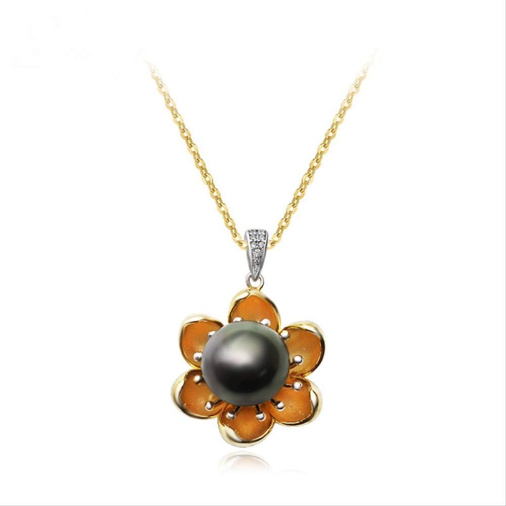 WTPUNGB Collar Redondo de Perlas Negras Naturales Redondas 12-13 mm para Mujeres Collar de Colgantes de Perlas Grandes de Plata esterlina 925