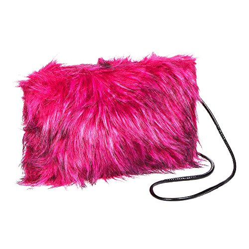 Blue Banana Faux Fur Clutch Bag (Hot Pink/Black)