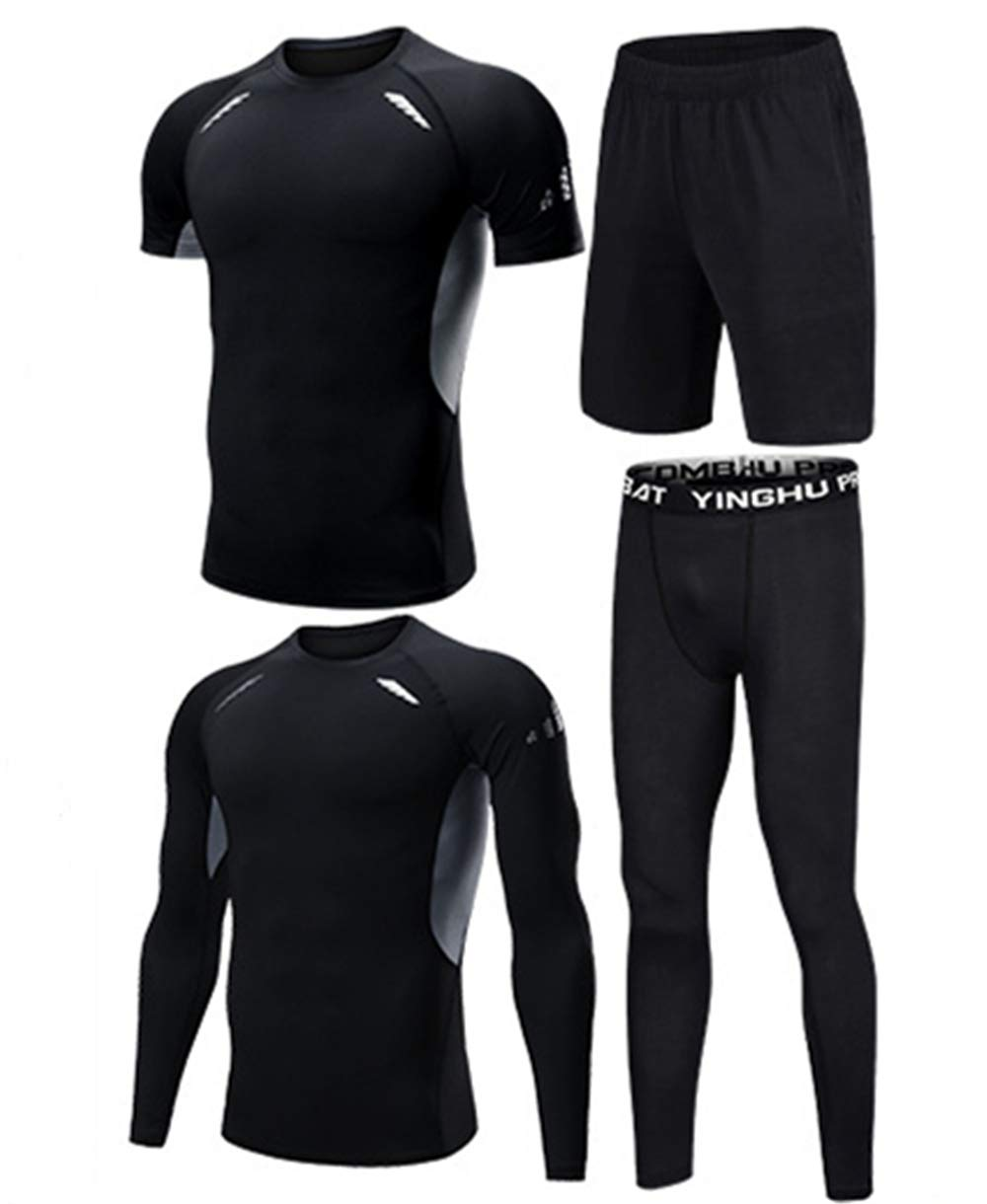 WYQQ Summer Man's Suit Sportswear Four-Piece Fitness Quick-Drying Training Tights(Black-Gray,S)