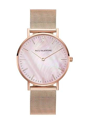 Paul Valentine - Reloj de Pulsera para Mujer (36 mm), Color Rosa y Dorado: Amazon.es: Relojes