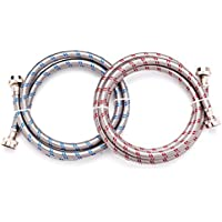 6 Ft Washing Machine Hoses Set of 2 Lead Free Stainless Steel with Red and Blue Water Connection Markings and Burst Proof Design