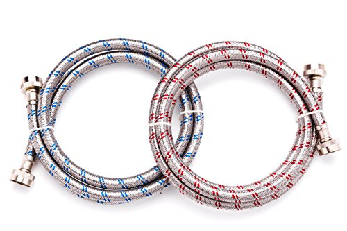 6 Ft Heavy Duty Washing Machine Hoses Set of 2 Lead Free Stainless Steel with Red and Blue Water Connection Markings and Burst Proof Design