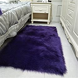 CHITONE Faux Fur Sheepskin Area Rug, Baby Bedroom Rugs Fluffy Rug Home Decorative Shaggy Rectangle Carpet, 2x3 Feet, Purple