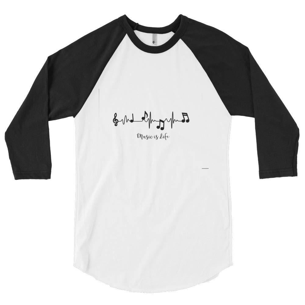 Unleashed Custom Creations 3//4 Sleeve Music is Life Raglan Shirt White//Black